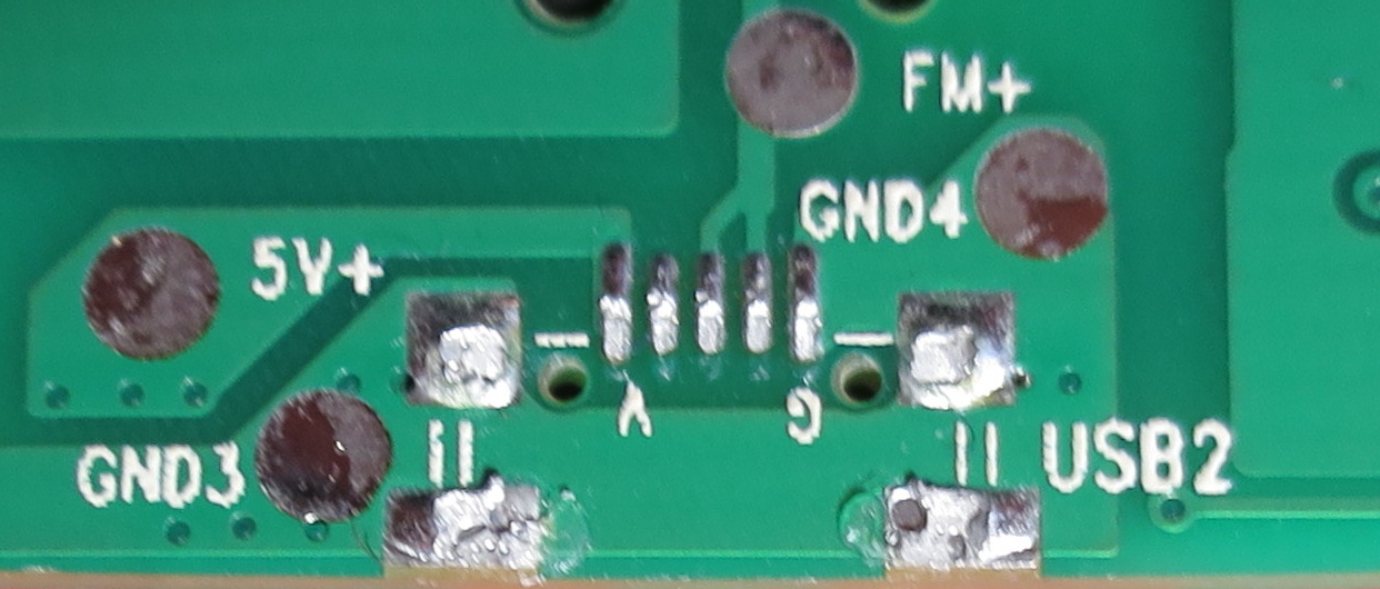 PCB with the USB receptacle removed