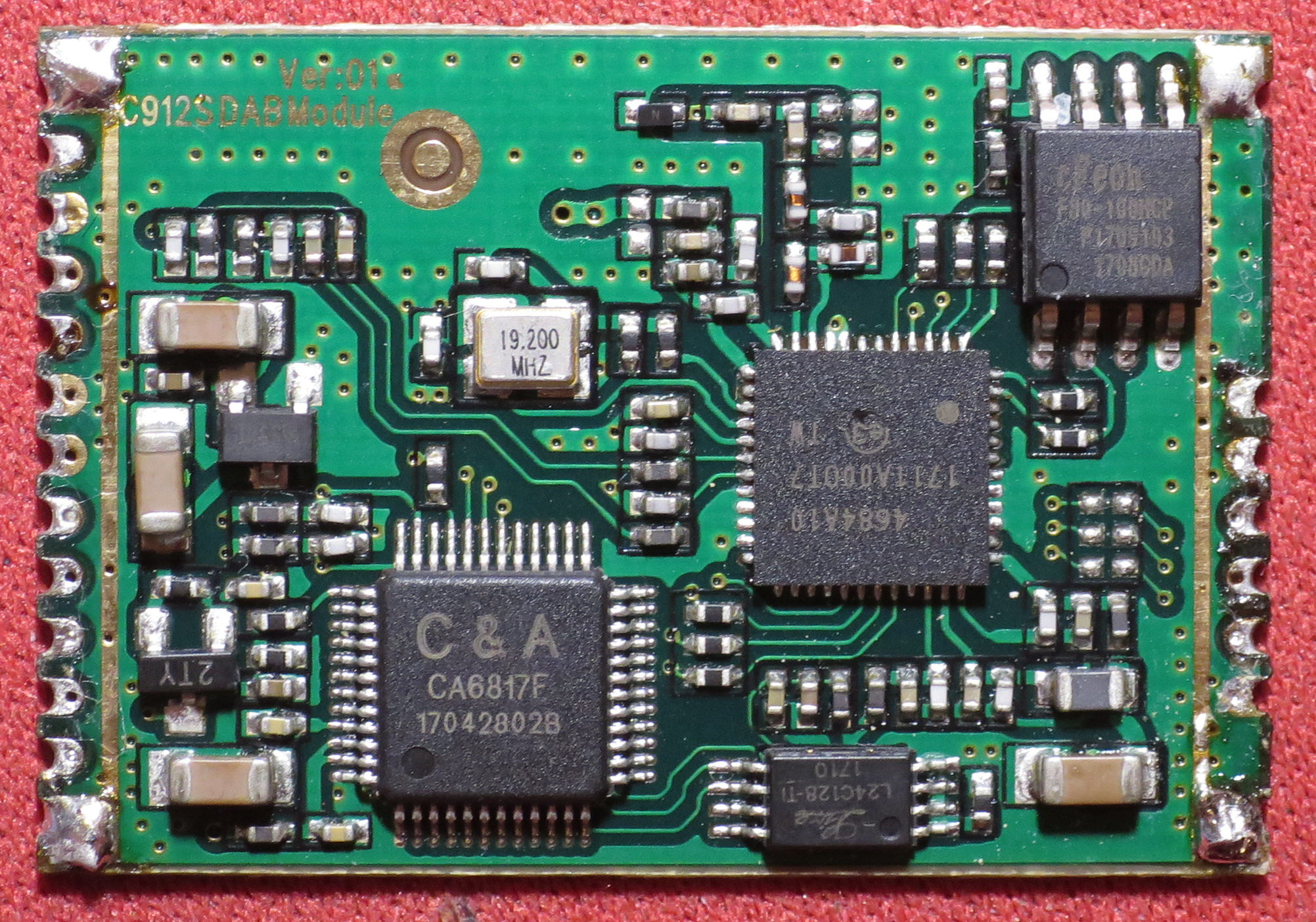 Top view of the add-on PCB