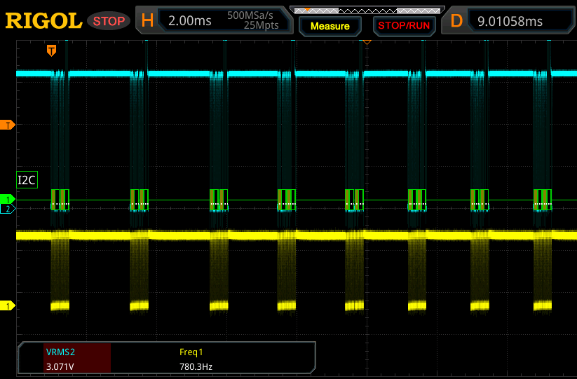 Multiple SMBus transactions, sniffed using an oscilloscope