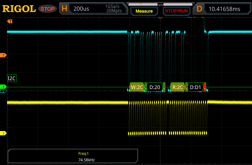 One SMBus transaction, sniffed using an oscilloscope